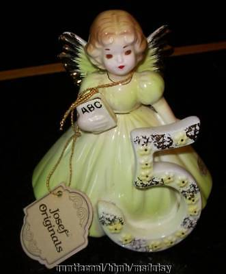 Vtg Japan Josef Originals Birthday Angel 5 with ABC Book Figurine Label Excellen