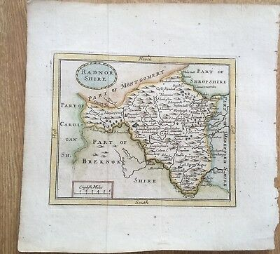 Antique Map Radn0Rshire 1695 John Sellers Original Hand Coloured At Later Date