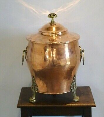 Victorian copper coal scuttle, lidded bin Aesthetic movement fireside coal store