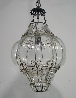 Antique Vintage Chandelier Pendant Light Fixture 1950's Captive Glass