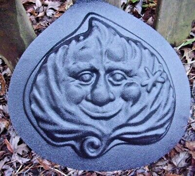 "Leaf face stepping stone mold concrete plaster reusable mould 10"" x 11"" x 1"""
