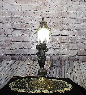 Antique Vintage Table Lamp Cherub Green Glass Rosette Shade Light Fancy