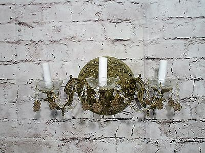Antique Vintage Sconce Bronze Ornate 3 Light Crystal Flowers Rewired