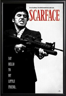 Scarface Movie Poster, Say Hello To My Little Friend Framed (Black)