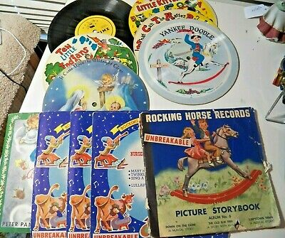 16 Vintage Children's Double Sided Vinyl and Cardboard Record 1940's to 1960s