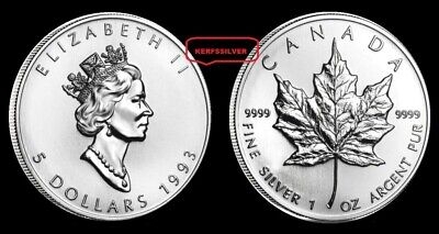 1993  Canadian 1 Oz Silver Maple Leaf Coin .9999  Pure Fine Silver Bullion - Unc