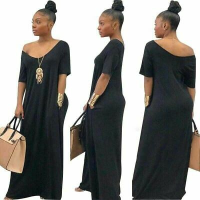 Sexy Long Dress Women Maxi V-Neck Beach Elegant Sexy Off Shoulder Black XXL