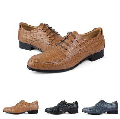 Mens Alligator Pattern Lace Up Pumps Chunky Casual Party Leather Oxfords Shoes