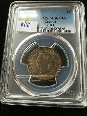 1891  SD/LL,  PCGS Graded Canadian, Large One Cent, **MS-63**