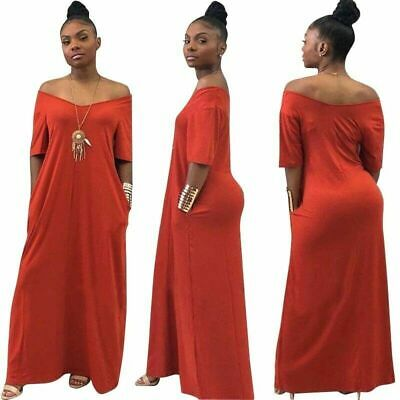 Sexy Long Dress Women Maxi V-Neck Beach Elegant Sexy Off Shoulder Brick Red XXL