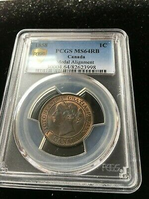 1858 Medal Alignment  PCGS Graded Canadian, Large One Cent, **MS-64**