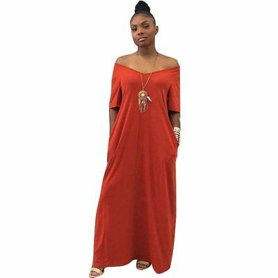 Sexy Long Dress Women Maxi V-Neck Beach Elegant Casual Off Shoulder Brick Red XL