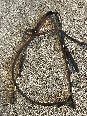 VINTAGE- Poco Style Western Leather Horse Sized Headatall With Silver