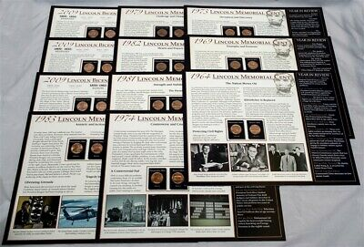 Lot of 20 - Lincoln Wheat & Memorial Cent - Penny Placards - Historical Events