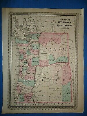 Vintage 1872 WASHINGTON TERRITORY MAP Old Antique Original Johnsons Atlas Map 19