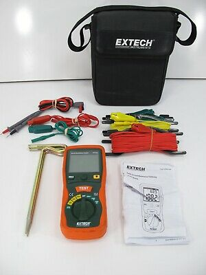 Extech 382252 Earth Ground Resistance Tester Kit w/Leads Ground Rods Cables Case