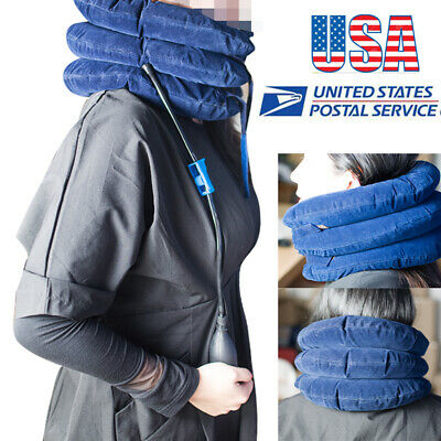 USA Massager Neck Brace Support Cervical Collar Air Traction Therapy Device