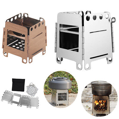 Outdoor Wood Stove Mini Portable BBQ Grill Survival Camping Burning Cook