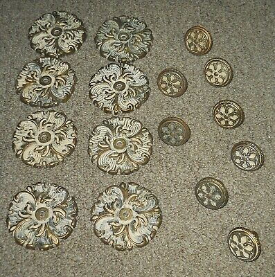 Lot of 16 Vintage Matching Brass Knobs and Bases