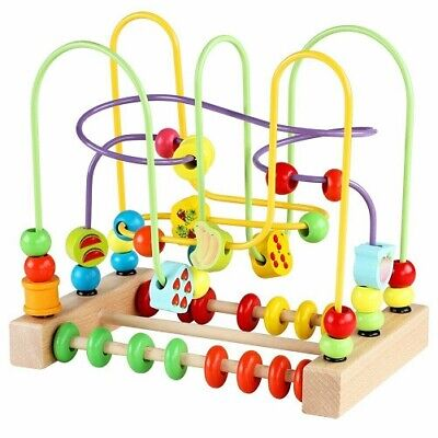 Bead Maze Toy for Toddlers Wooden Colorful Roller Coaster Educational... - New