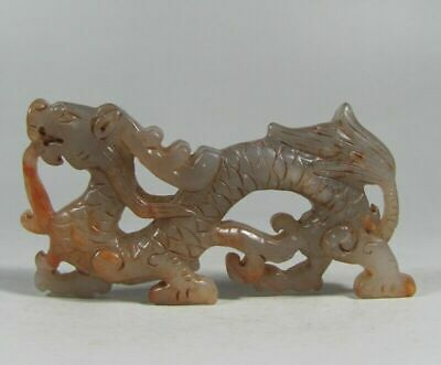 Certified old Nephrite Hand-carved dragon statue hetian jade Pendant#B816