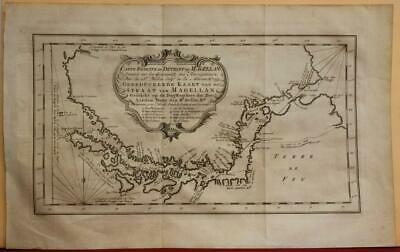 South America Argentina 1753 Bellin/Schley Antique Copper Engraved Sea Chart