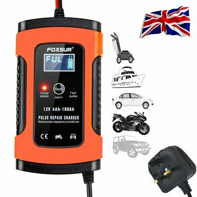 12V 5A Car Smart Battery Charger Trickle RV Motorcycle Mower Lead-Acid Batteries
