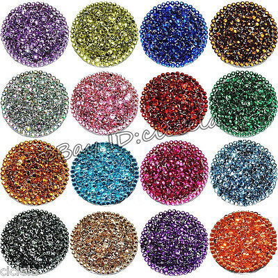 1000Pcs 3mm Facets Resin Rhinestone Gems Flat Back Cabochons Crystal Beads Lots