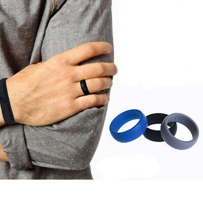 3PCs Men Women Lovers Silicone Wedding Ring Active Sport Gym Fashion Ring