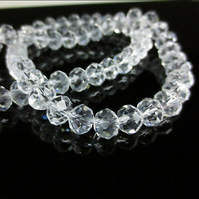 Lots Clear White Rondelle Faceted Crystal Glass Spacer Loose Bead DIY 6/8/10MM
