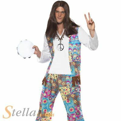 Mens Groovy Hippie Costume 60s 70s Hippy Retro Peace Fancy Dress Outfit