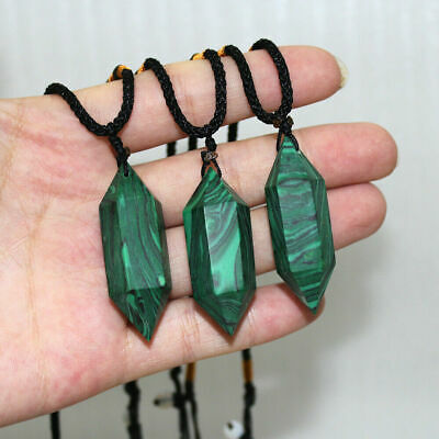 Natural Malachite Crystal Quartz Necklace Healing Stone Hexagonal Wand Pendant