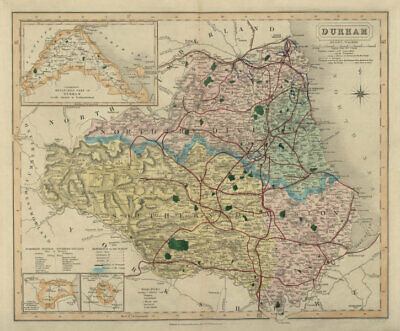 Durham antique county map by J & C Walker. Railways & boroughs 1868 old