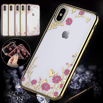 Shining Glitter Phone Case For iPhone XS Max XR 8 7 6S Plus Flower Silicon Cover
