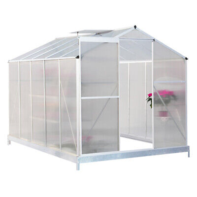 Clear Polycarbonate Greenhouse Grow Shed House Aluminium With/No Base Slide Door