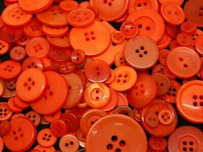 100g Orange Mixed Size & Shape Acrylic Buttons Assorted Arts & Craft Kids - M177