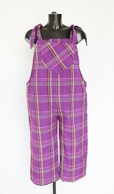 Vintage Dungarees - Purple - Linen - UK 12