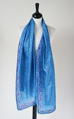 Vintage Indian silk floral chintz scarf - Turquoise Blue / Pink - Long