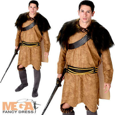 Barbarian Warrior Mens Fancy Dress Viking Medieval Game Of Thrones Adult Costume