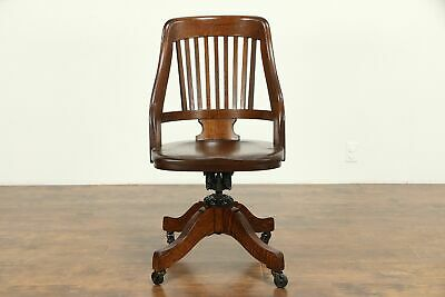 Oak Antique Swivel Adjustable Office or Library Desk Chair, Milwaukee #31118