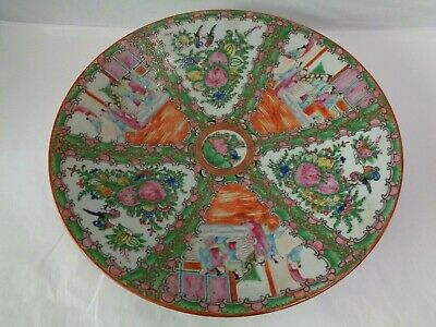 "Antique Chinese Rose Medallion Charger / Bowl 14-3/4"" Diameter"