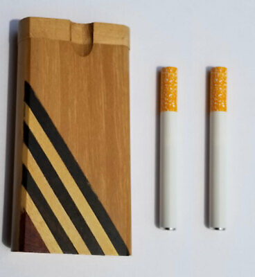 "4"" Wooden Dugout With 2 X 3"" Aluminum Cigarette Style One Hitter - Free Shipping"