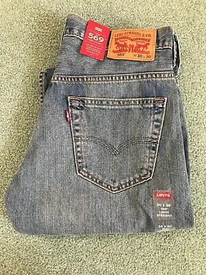 87eab7c6 NWT MENS LEVIS 569 Loose Straight Leg Stretch Blue Denim Jeans Size ...