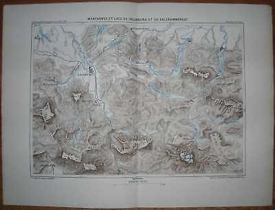 1878 Reclus map MOUNTAINS AND LAKES OF SALZBURG AND SALZKAMMERGUT, AUSTRIA (#2)