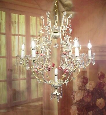 Antique Vintage  Chandelier Italian Tole Shabby Pink Cream Rose Crystals 7 Light