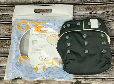 Grovia ONE All In One Reusable Gray Cloth Diaper One Size New Free Shipping
