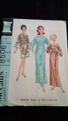 95412325c5f5 VINTAGE 1960S MCCALL'S Pattern 8506 Misses Robe 2 Lengths 36B sz 16 ...