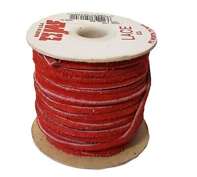 """Vintage TEJAS Genuine Suede Lace Cord 1/8"""" (3 mm) x 25 yds Red (1 spool) USA"""