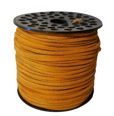 "Genuine Suede Leather Lace Jewelry Cord 1/8"" 3mm x 100 yds Large Spool Rust"