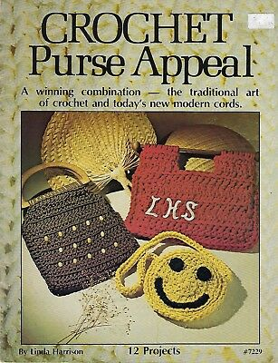 Crochet Purse Appeal Crocheting Using Macrame Cord Pattern Book Vintage 1977